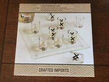 Crafted Imports Nine Shot Glass Tic Tac Toe Drinking Game With One Glass Plate