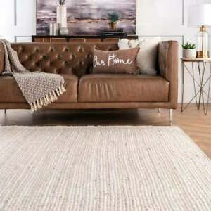 8x10 feet square Indian braided white jute rug braided rugs squre rug home decor