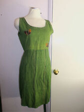 Sacred Threads Sleeveless Dress w Butterflies Green w Tie String Waist OS M L