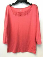 GAP Women's Size Medium 3/4 Sleeve Coral Pink Top Cotton Polyester, EUC