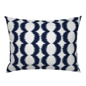 Navy Ikat Modern Abstract Blue White Pillow Sham by Roostery