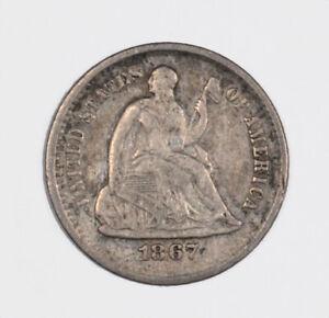 1867-S Liberty Seated Half Dime Better Date H10C - XF Extra Fine Original