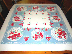 "Vtg Barkcloth Tablecloth, Lovely Fruit Motiff,Retro Colors,Cherries,Pears,50""X52"