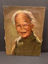 Vintage Hong Kong Lily House SO UK Estate Asian Old Woman Original Oil Painting