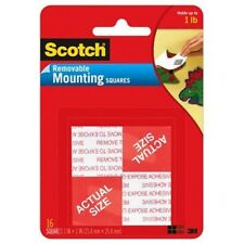 Scotch(R) Removable Mounting Squares , 1 x 1 Inches, 16 squares ,Grey