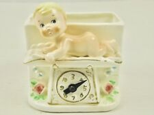 Napco 1950s Baby on Weight Scale A4607 Dial Moves Flowers Ceramic Planter