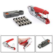 10pcs Rg6 Crimp Connectors F Type Compression Stripper Tool Coaxial Crimper