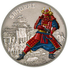 Niué Islands 2 dollar warriors of History samouraï COLORIERT, 2016, 1 once argent