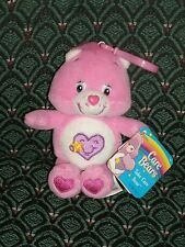 """Care Bear 5"""" clip * TAKE CARE BEAR * Pink * New W Tags *2004* RARE *RETIRED"""