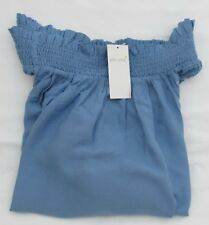 Ladies Marks & Spencer Chambray Bardot Top With White Floral Embroidery Size 18