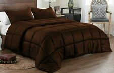 Down Alternative Comforter Set Reversible Solid/Striped Queen All Colors - FS