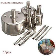 10pcs 3-50mm Diamond Drill Bit Hole Saw Set for Glass Ceramic Marble Tile