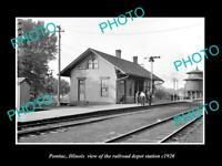 OLD 8x6 HISTORIC PHOTO OF PONTIAC ILLINOIS THE RAILROAD DEPOT STATION c1920