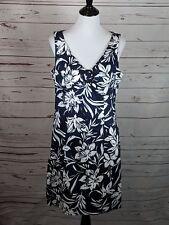 Jones New York Signature Size 12 Blue White Hawaiian Dress career wear to work