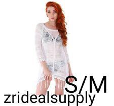 WOMEN'S STYLISH BEACHWEAR BIKINI SWIMSUIT COVER UP WHITE SIZE S/M