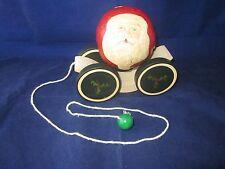 BRIERE Folk Art Pull Toy 1986 Santa Claus Ball & Cart / Cradle #2621 ~ EXCELLENT