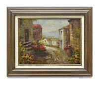 NY Art - Beautiful Italian Village 12x16 Impressionist Oil Painting with Frame!!