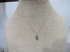 Vintage Heart Peridot and Amethyst Pendant Necklace in Sterling Silver 925 (e)