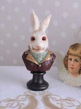 Tierbüste Weisses Kaninchen Büste Alive im Wunderland Vintage Figur