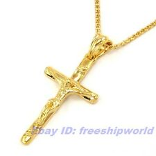 """Cross Pendant 23.6"""" Necklace Solid Fill m11 Real Exalted 18K Yellow Gold Gp 2.2"""""""