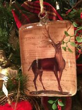 New in Box Pottery Barn DECOUPAGE Reindeer Stag Glass Christmas Tree Ornament