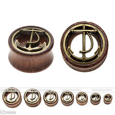 2pc 0G-3/4'' Organic Sono Wood Golden Anchor Saddle Ear Plugs Tunnels Expander