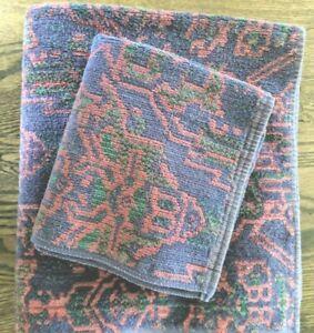 Ralph Lauren Bath Hand Towel Aztec Geometric Navy, Red, Green BLUE LABEL