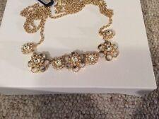 NWT Ann Taylor Long Crystal Flower Necklace $39.99 #113
