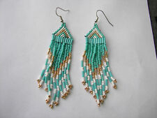 "Seed  Bead  Earrings NEW   Teal /White /metalic gold 3 1/4"" x 1"" long"