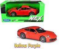 Welly 1:24 Porsche 911 Carrera 4S Diecast Model Car Red 24099