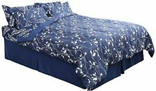 Honeymoon Fashions Navy Botanical Comforter Bed in A Bag Twin Xl 6 pcs