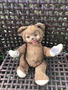 Vintage Rushton? Rubber Face Lt. Brown bear plush - Rare - Segmented Limbs!!