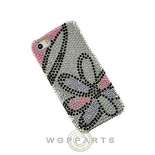 Apple iPhone 5/5S/i5S Shield Crystal Flowers Pink with White Case Cover Shell
