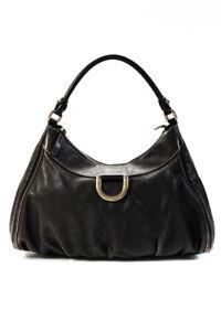 Gucci Womens Rolled Handle Zip Top Leather Hobo Tote Handbag Dark Brown