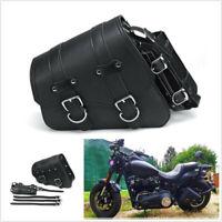 Rear Left Motorcycle Saddlebag Saddle Bag Side Luggage Bag Universal PU Leather