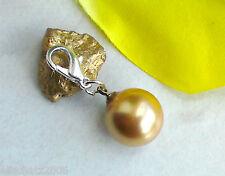 Charms Anhänger MUSCHELKERNPERLE Charm Muschel Perle 12 mm Goldfarbe für Armband