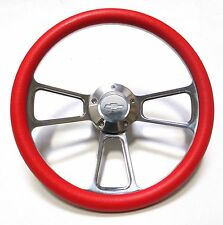"Red Chevy Hot Rod Street Rod Steering Wheel 14"" Billet Muscle Style Wheel"