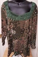 Chico's Womens Green Brown White Floral Design Shirt Top Blouse Size 3 XL