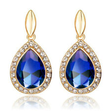 Gold Royal Dark Blue Queen Bridal Luxury Party Women Drop Stud Earrings E1317b