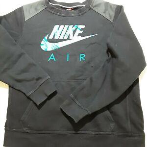 Womens Nike Sweatshirt w/ pouch pocket Size L Black Spellout & swoosh Jumper