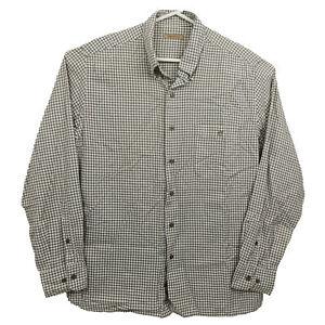 Camel Australia Mens Shirt Size XL Find Cotton White Brown Checkered Button-Down