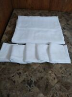 White Irish Linen Damask TableCloth And 5 Matching Napkins With CH Monogram EUC