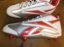 New Reebok NFL Thorpe II Mid D2 football mid cut cleats Mens 18 red/silver #20