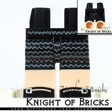 LEGO Minifigure Legs BLACK Dress Sandals Hips LIGHT FLESH Legs Wavy Lines
