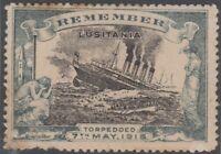 Stamp 1915 England propaganda Cinderella Remember sinking Lusitania ship torpedo