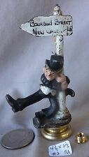 Lamp Finial Painted Cast IRON Drunk on Bourbon St New Orleans Post (WHITE) (RA)