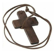 Retro Men Women Brown Cross Pendant Christian Religious Wooden Wood Necklace DK