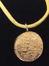 "Gold Doubloon Coin WC36 Gold English Pewter On a 18"" Yellow Cord Necklace"