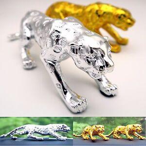 Leopard Jaguar Car Decor interior Cat Home Decoration Silver Gold Metal Statue