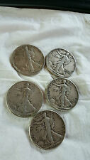 5 Walking Liberty Silver Half Dollars.  Those pictured. Clear details.